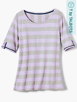 Stripe Button-Elbow Sleeve Top