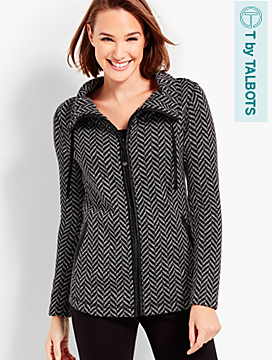Chevron-Print Heathered Fleece Jacket