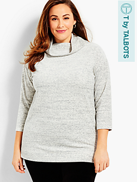 Luxe Velour Tweed Cowl Neck Tunic
