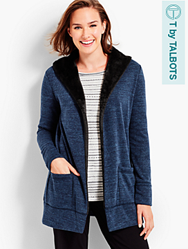 Plush Faux-Fur Lined Shawl-Collar Cardigan