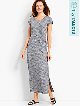 Marled Soft-Drape Jersey Dress