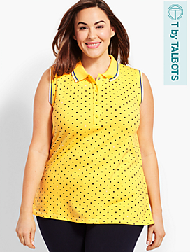 UPF 50 Pique Sleeveless Polo - Mini Dot