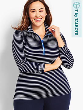 UPF 50+ Pencil-Stripe Pullover Top