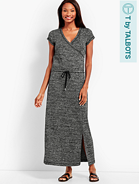 Marled Soft-Drape Jersey Drawstring-Waist Dress