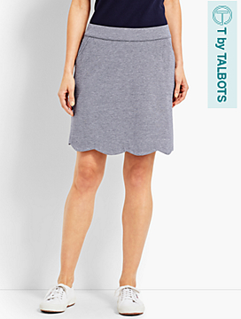 UPF 50 Cross-Dyed Pique Scallop-Hem Skort