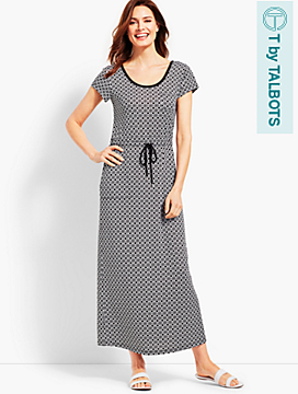 Soft Drape Jersey Dress - Joyful Geo Print