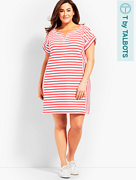 Stargazer Stripe T-Shirt Dress - Dark Nectarine