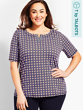 Joyful Geo Print Top