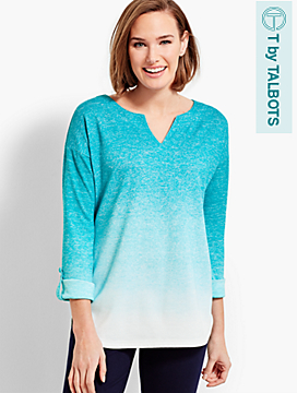 Soft Drape Jersey Ombre Roll-Cuff Top