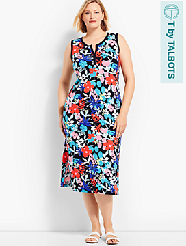 Sunny Meadow Print Slub Jersey Henley Dress