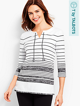 Stripe Tassel Split-Neck Top