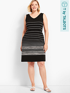 Easy Stripe Double V-Neck Dress