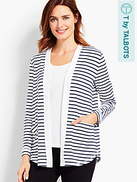UPF 50+ Regatta Stripe Easy-Drape Cardigan