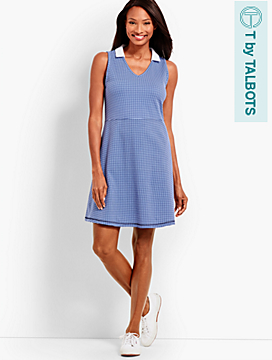 UPF 50 Gingham V-Neck Polo Dress