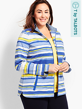 Womans Exclusive Stripe Terry Zip-Up Jacket