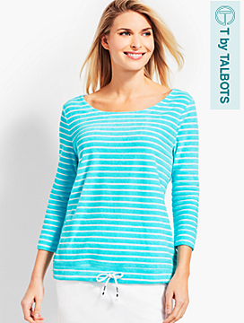 Saltwater Stripe Drawcord-Hem Top