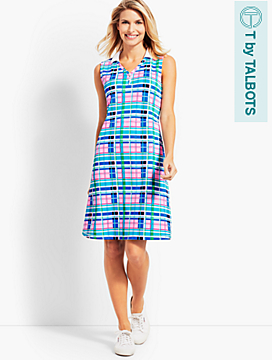 Vibrant Plaid V-Neck Polo Dress