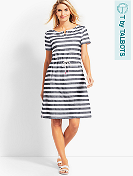 Textured Santorini Stripe Drawstring-Waist Dress