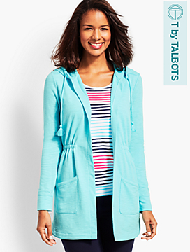Slub Terry Cinched-Waist Hooded Cardigan