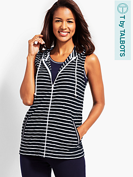 Saltwater Stripe Hooded Zip-Front Terry Vest