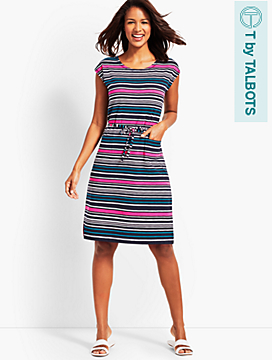 Multicolor Stripe Self-Belt Knit Dress