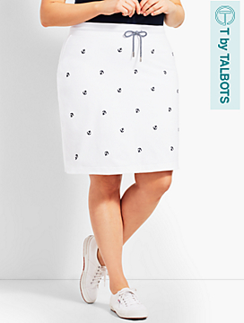 Embroidered-Anchor French Terry Skort