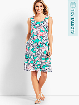 Floral Slub Crisscross-Back Dress