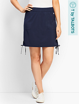 Stretch Woven Side-Tie Skort