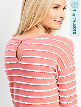 Backshore Scallop Stripe Keyhole Top