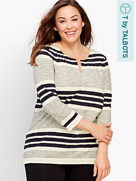 Split-Neck Stripe Tunic