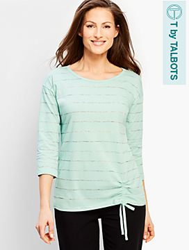 Stripe Drawstring Top