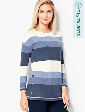 Stripe Button-Detail Top