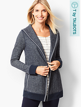 Open-Front Heathered Fleece Cardigan