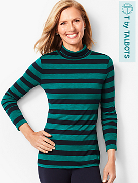 Scrunched Turtleneck Stripe Top
