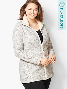 Fleece-Trim Quilted Jacquard Jacket