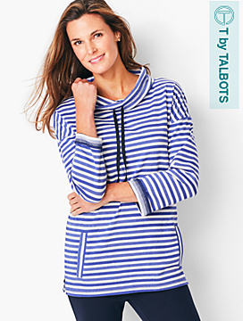 Stripe French Terry Drawcord Cowlneck