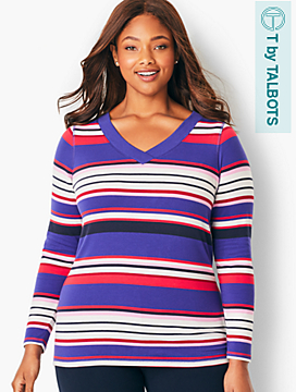 Crossover V-Neck Tee - Striped