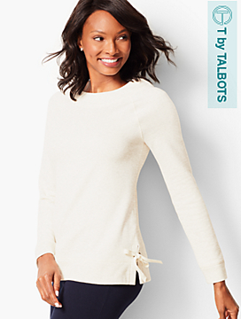Side-Tie Heathered Fleece Top