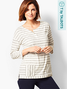 Striped Front Pocket Pullover