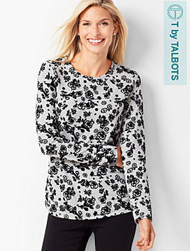 Long-Sleeve Floral Crewneck Tee