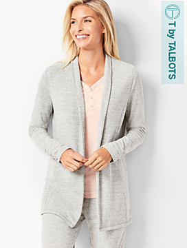 Brushed Mélange Open-Front Cardigan
