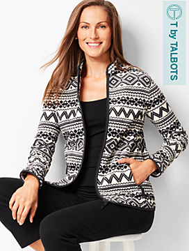 Geo-Print Fair Isle Polar Fleece Jacket