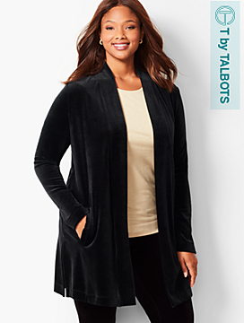 Luxe Velour Open-Front Duster