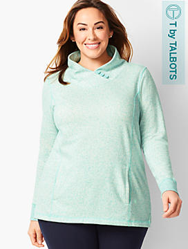 Heathered Fleece Wrap-Neck Tunic