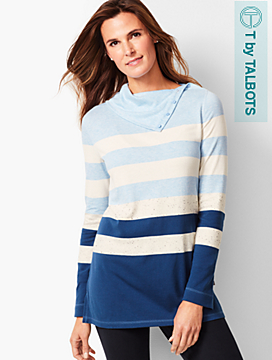 Stripe Split Funnel-Neck Top