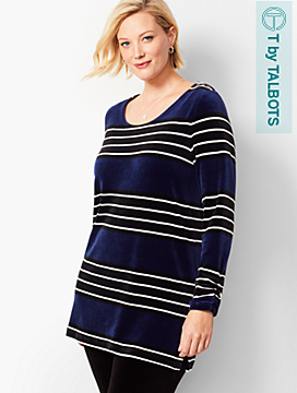 Plus Size Exclusive Luxe Velour Stripe Tunic