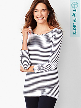 Three-Quarter Sleeve Tee - Bi-Color Stripe