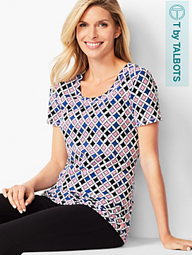 Scoop-Neck Tee - Geo-Print