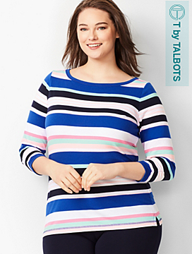 Three-Quarter Sleeve Tee - Multi- Color Stripe