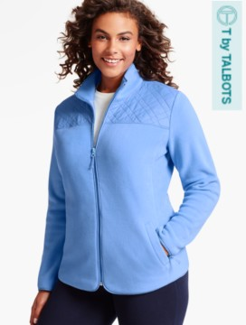 Quilted Mock-Neck Fleece Jacket